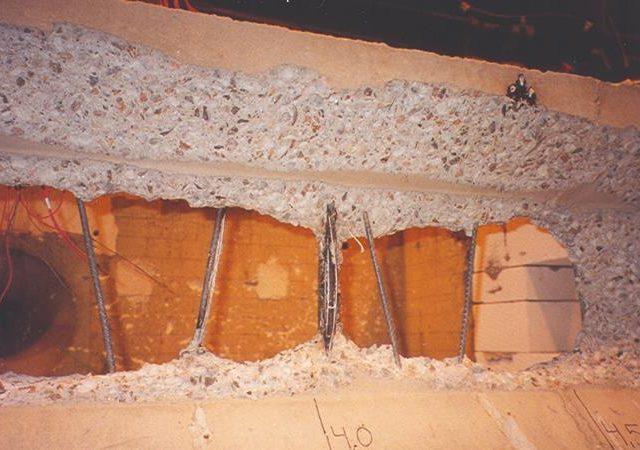 Betono konstrukcijų skilimo apsauga gaisro metu